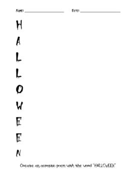 Halloween Acrostic Halloween