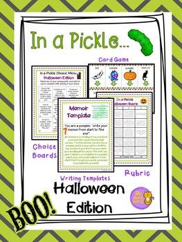 Halloween Writing Activities w/ Choice menu, Game, rubric,