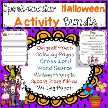 Halloween Activity Bundle with Themed Writing Paper: 95 Pages