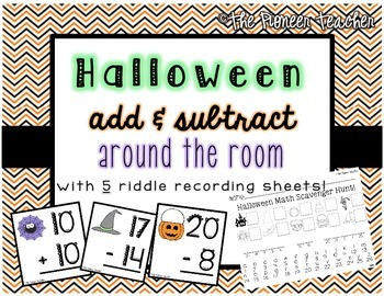 Halloween Add and Subtract Around The Room {With 5 Riddle