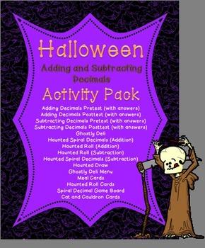 Halloween Adding and Subtracting Decimals Activity Pack