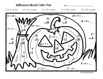 Halloween Addition & Subtraction Color Fun