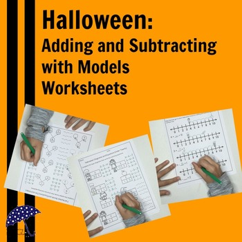 Halloween Addition and Subtraction Worksheets with Models