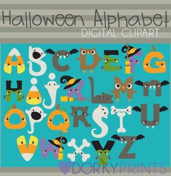 Halloween Alphabet Digital Clip Art