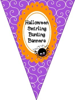 Halloween Alphabet & Number Swirling Bunting Banners