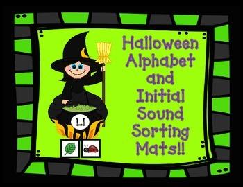 Halloween Alphabet Sorting Mats:  Initial Sound