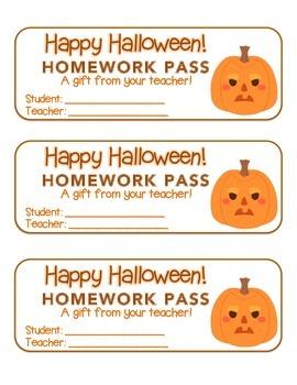 """Halloween"" Angry Pumpkins - Homework Pass – FUN! (color &"
