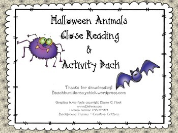 Halloween Animal Close Reading
