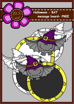 Halloween - BAT - message board Digital Clipart (color and