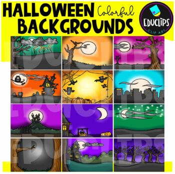 Halloween Backgrounds Clip Art Bundle {Educlips Clipart}