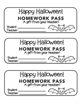 """Halloween"" Bat - Homework Pass –Holiday FUN! (black line"