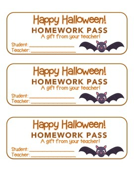 """Halloween"" Bat - Homework Pass – Holiday FUN! (full color"