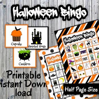 Halloween Bingo Cards and Memory Game - Printable - Up to
