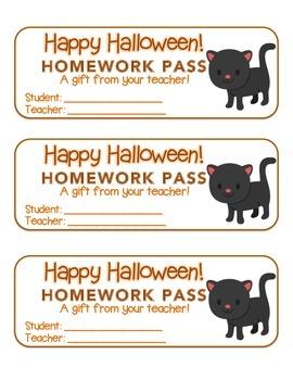 """Halloween"" Black Cat - Homework Pass – Holiday FUN! (full"