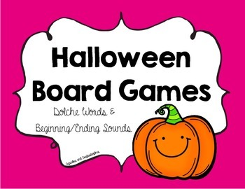Halloween Board Games {{Dolche Words & Beginning/Ending Sounds}}