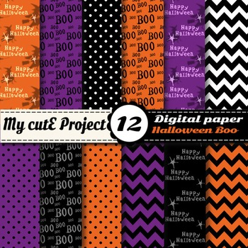 Halloween Boo Digital Paper - Scrapbooking - Witches, Boo,