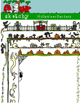 Halloween Borders / Frames 300dpi Transparent Color Black