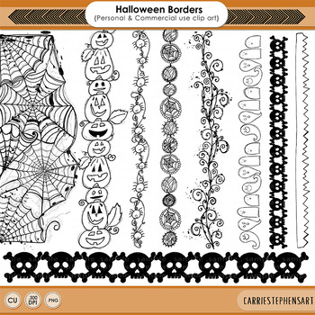 Halloween Border Clip Art, Hand Drawn Spider Web Illustrat