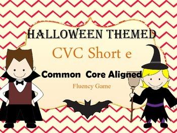 Halloween CVC short e word game for Fluency (Aligned to Co