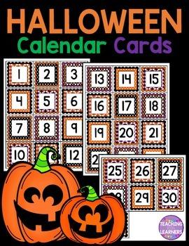 Halloween October Calendar Cards