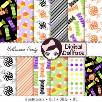Halloween Candy Digital Paper Backgrounds