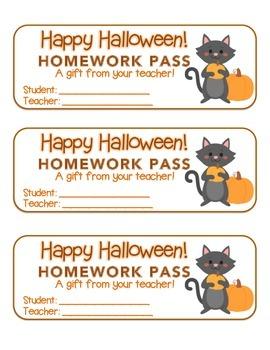 """""""Halloween"""" Cat Holding Pumpkin - Homework Pass –FUN! (col"""