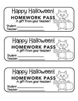 """""""Halloween"""" Cat Holding Pumpkin - Homework Pass –Holiday F"""
