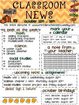 Halloween Chevron Newsletter- Editable!