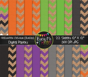 Halloween Chevron on Burlap Digital Papers {Commercial Use