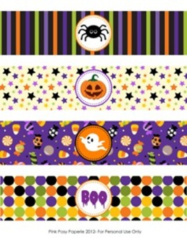 Halloween Classroom Party Water Bottle Wrappers