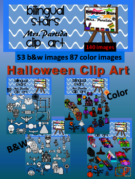 Halloween 140 Clip Art - 87 Color images  and 43 b&w Bilin