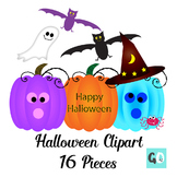 Halloween Clipart,  Pumpkins, Bats, Spiders, Ghost, Witch'
