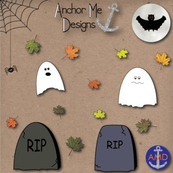 Halloween Clip Art- Leaves, Pumpkins, Trees, Ghosts, Grave