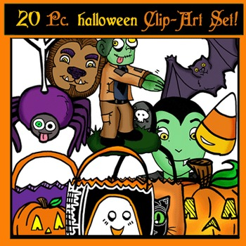 Halloween Clip-Art Objects: 20 pc. BW/Color!