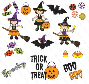 October Halloween Clip Art Witches Bats Candy Transparent