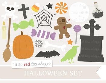 Halloween Clipart; Tombstone, Pumpkin, Broom, Voodoo Doll,