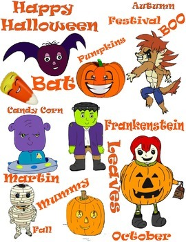 Halloween Clipart and Text for Fall Parties, Frankenstein,