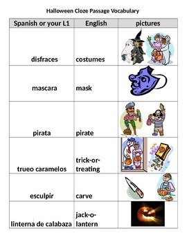Halloween Cloze Passage w/vocab. pictures/Spanish translation