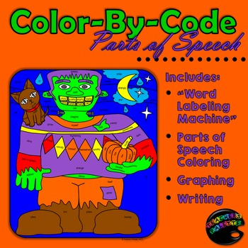 Halloween: Coloring Parts of Speech -- with graphing and w