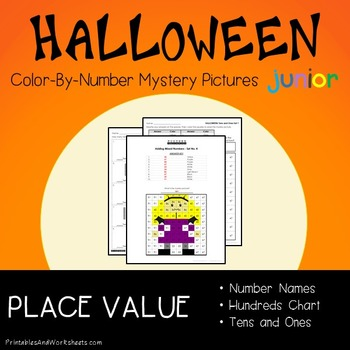 Place Value Halloween Color-By-Number