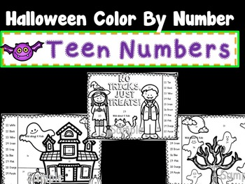 Halloween Color By Number with Teen Numbers