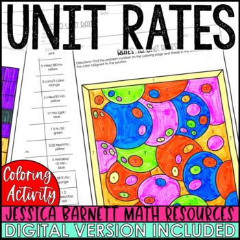 Rates to Unit Rates Halloween Themed Coloring Activity