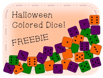 Halloween Color Die/ Dice Clip Art - Green/ Orange/ Purple