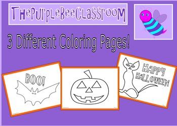 Halloween Coloring Pages Set 1 Bat, Cat, Pumpkin