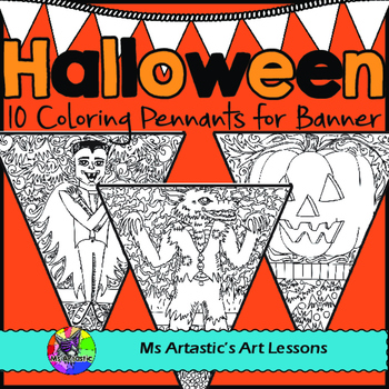 Halloween Coloring Pages Pennant Banner