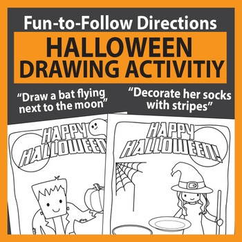 Halloween  - drawing activity and coloring pages