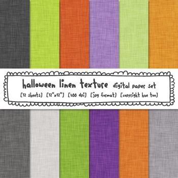 Halloween Colors Linen Texture Digital Paper, Orange, Gree