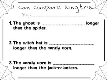 Halloween Comparing Lengths Measurement Activity