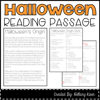 Halloween Comprehension Passage and Questions