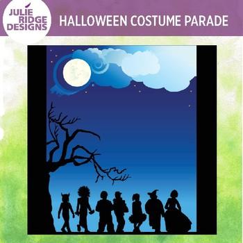 Halloween Costume Parade Clip Art Background